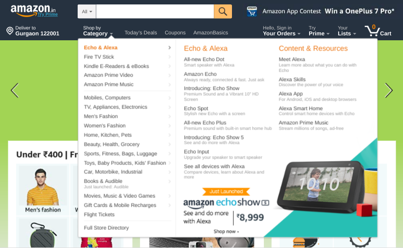 mega menus for mobile app design services